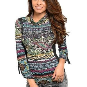 Tops - Mock neckline long sleeve juniors printed knit top